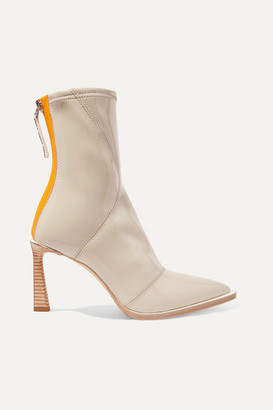 Fendi Two-tone Glossed-neoprene Ankle Boots - Beige