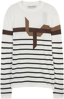 Neil Barrett Off White Striped Fine-knit Jumper