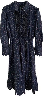 Horror Vacui Blue Cotton Dress for Women
