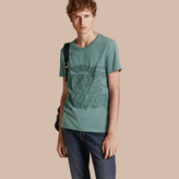 Burberry Embroidered Equestrian Knight Cotton T-shirt, Blue