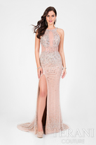 Terani Prom - Crystal Beaded Halter Long Prom Gown 1712P2517