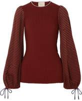 Roksanda Saida Tulle-paneled Stretch-jersey And Ribbed-knit Top - Burgundy