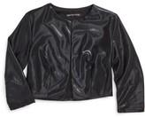 Girl's Miss Behave Samatha Faux Leather Bolero Jacket