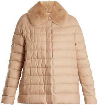 Moncler Gamme Rouge Champlain Fur-trimmed Quilted Down Cashmere Jacket - Womens - Camel