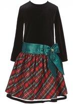 Jayne Copeland Big Girls 7-12 Christmas Bow Velvet Plaid Dress