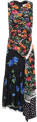 3.1 Phillip Lim Paneled Fringed Floral-print Silk Midi Dress