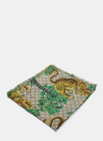 Gucci Men's Bengal Tiger Jacquard Fringed Scarf In Grey, Green And Yellow