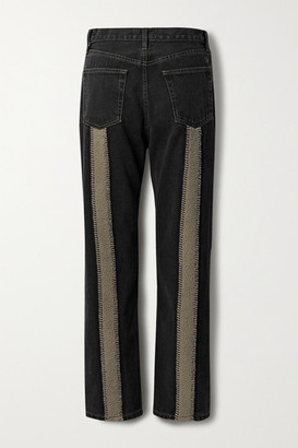 STILL HERE Sherpa Tate Cropped Fleece-trimmed High-rise Straight-leg Jeans - Black