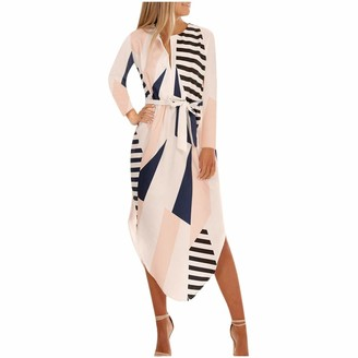 Tosonse Summer Casual Dresses for Women Geometric Print Short Sleeve V-Neck Maxi Dress with Belt