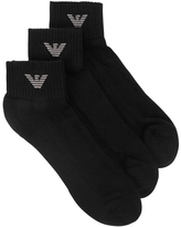 Armani Black Cotton Blend Socks - Set Of Three