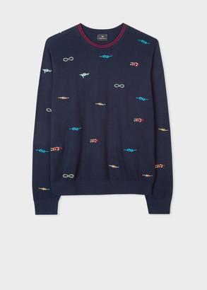 Men's Dark Navy Cotton-Blend 'Knots' Sweater