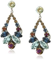 "Sorrelli Blue Brocade"" Navette And Round Crystal Adornment Post Drop Earring"