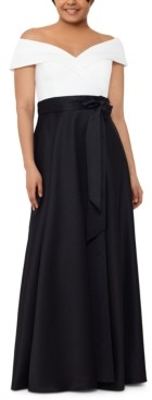 Xscape Evenings Plus Size Colorblocked Off-The-Shoulder Ball Gown