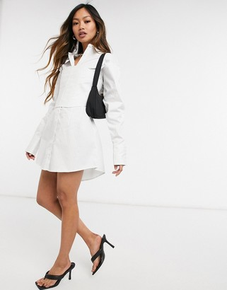Steele Gianni corset shirt dress in white