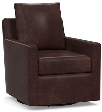Pottery Barn Ayden Square Arm Leather Swivel Glider