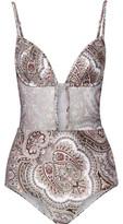 Zimmermann Epoque Tulip Cutout Mesh-Paneled Printed Swimsuit