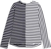 Sacai Dixie Lace-up Striped Cotton-jersey Top - Navy