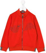 Armani Junior logo zip up cardigan