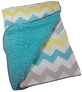 NoJo Little Bedding By Chevron Velboa Blanket in Teal Blue, Gray, & Yellow by