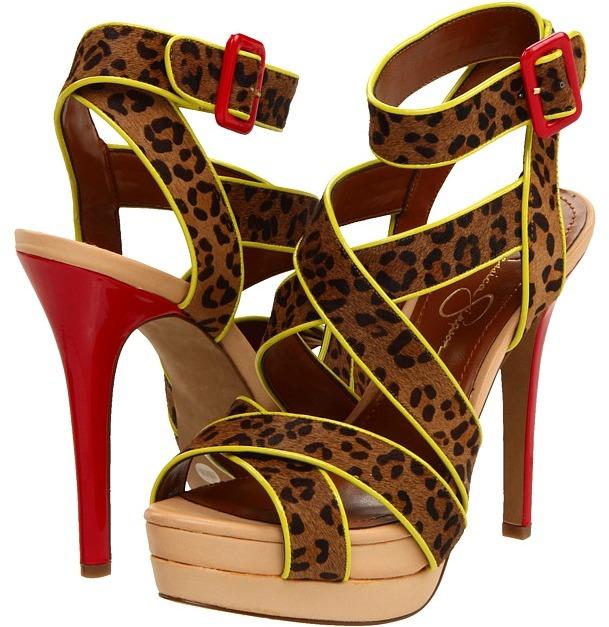 Jessica Simpson Evangela (Brown/Lipstick Red) - Footwear