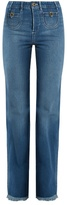 Chloé Frayed hem high-rise straight-leg jeans