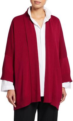 eskandar Sloped Shoulder 3/4-Sleeve Cardigan