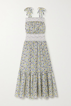 Tory Burch Smocked Floral-print Cotton-voile Maxi Dress - Blue