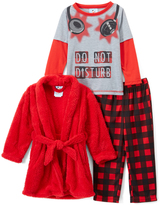 Red & Gray Check 'Do Not Disturb' Headphones Pajama Set & Robe - Toddler & Boys