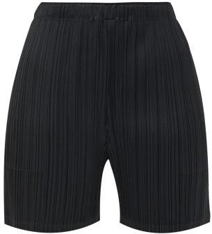 Pleats Please Issey Miyake Mid-cut Plisse Jersey Shorts - Black