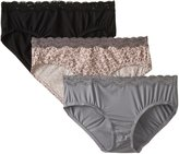 Olga Women's Without A Stitch Lace Hipster 3-Pack Panty, Assorted/Grey/Pink Dot/Smoke Pearl/Black