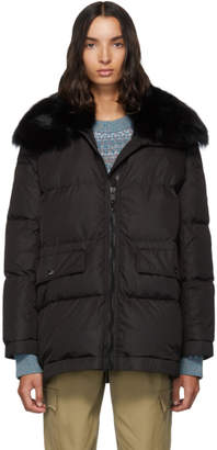 Yves Salomon Army Black Down Fur Collar Coat