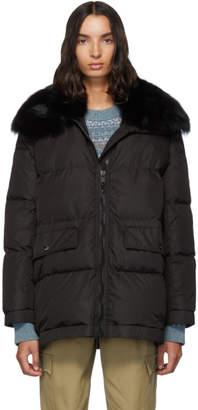 Yves Salomon Army Army Black Down Fur Collar Coat