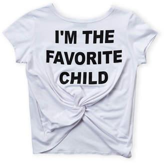 Miss Popular (Girls 7-16) Favorite Child Tie Front Short Sleeve Tee
