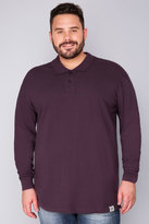 Yours Clothing BadRhino Dark Purple Long Sleeve Polo