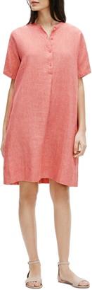 Eileen Fisher Mandarin Collar Linen Shirt Dress
