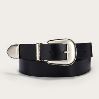 The White Company Leather Western Wide Buckle Belt, Black, XS