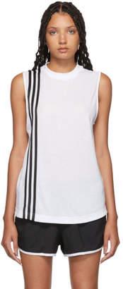 adidas White 3-Stripe Muscle Tank Top