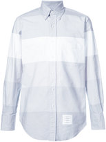 Thom Browne Classic Long Sleeve Shirt In Grey Multi Stripe Oxford