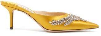 Jimmy Choo Rav 65 Crystal-embellished Satin Mules - Yellow
