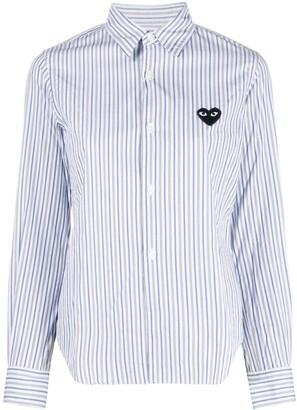 Comme des Garcons Heart-Patch Striped Shirt