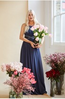 Thumbnail for your product : Little Mistress Bridesmaid Lauren Gunmetal Lace Insert Maxi Dress With Keyhole