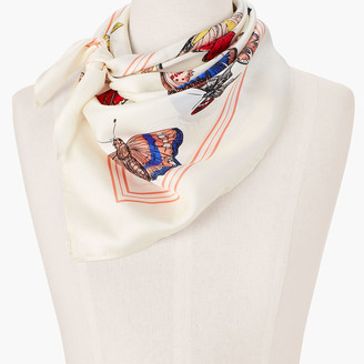 Talbots Echo Butterfly Silk Square Scarf