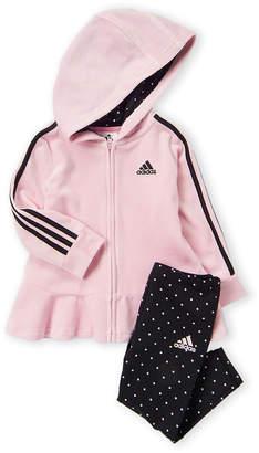 adidas Girls 4-6x) Two-Piece Velour Full-Zip Hoodie & Dotted Leggings Set