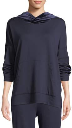 Eileen Fisher Petite Velvet-Trim Hooded Terry Pullover Sweatshirt