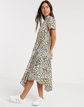 Vila leopard print uneven hem dress