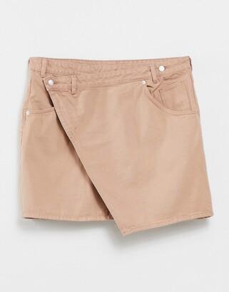 Monki Amalie organic cotton cross over denim mini skirt in natural tan dye
