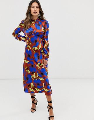 ASOS DESIGN high neck midi satin tea dress in bright floral print