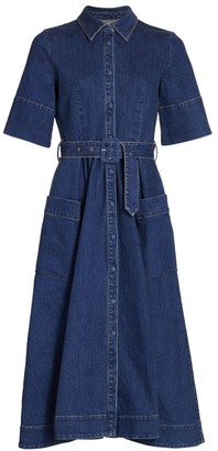 Co Belted Denim Shirtdress