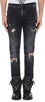 Balmain Men's Distressed Moto Jeans-BLACK