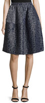 Co Pebble-Jacquard Bubble Skirt, Navy